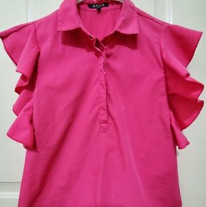 Prettt in Pink Top with Ruffled Sleeves